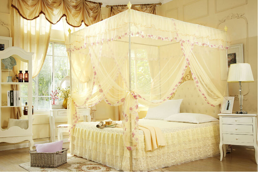 White Lace Flower Four Corner Post Bed Canopy Mosquito Netting Twin size With Frame-in Mosquito Net from Home u0026 Garden on Aliexpress.com | Alibaba Group & White Lace Flower Four Corner Post Bed Canopy Mosquito Netting ...