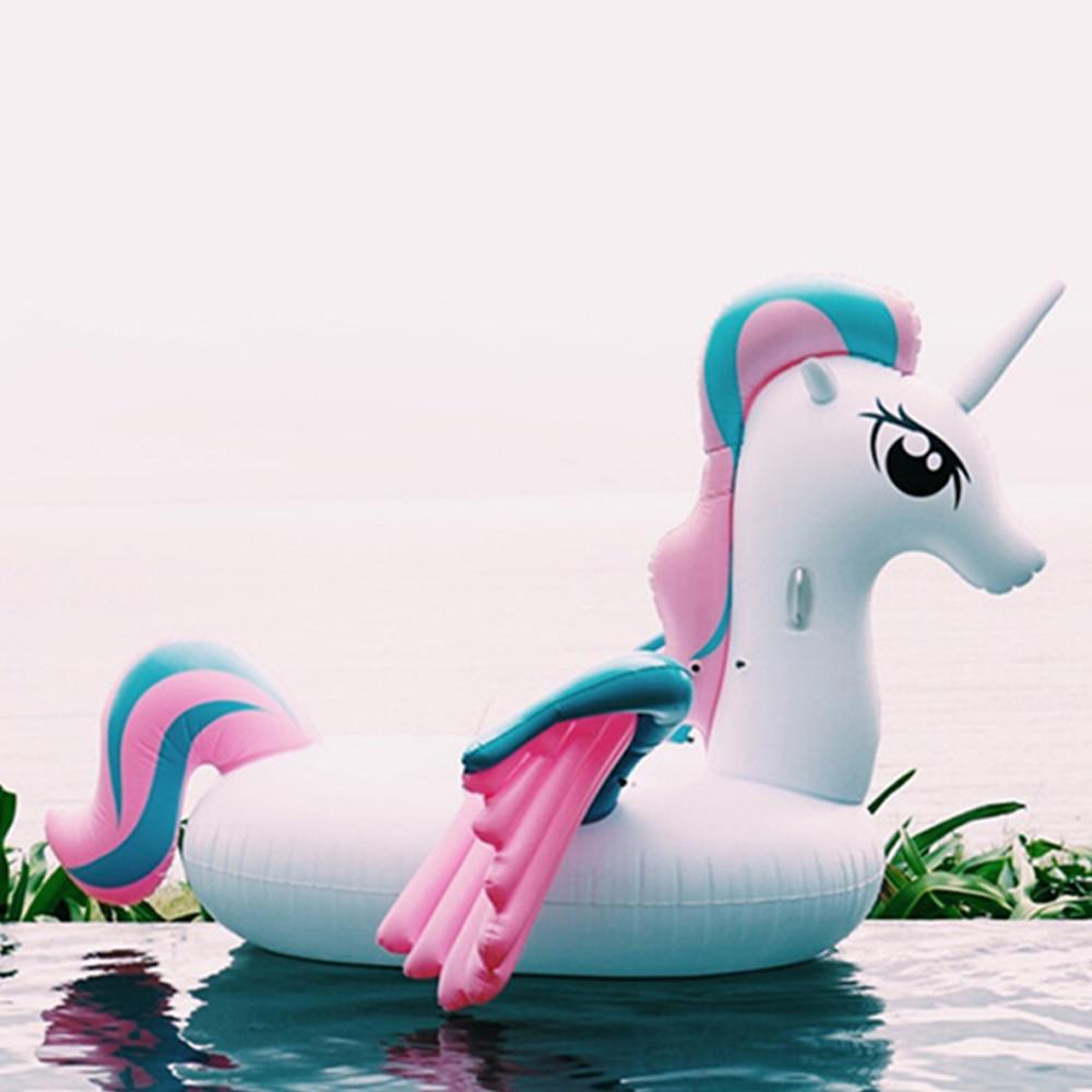 265 cm gonflable arc-en-ciel licorne piscine flottante pad Pegasus anneau de natation flottant jouet gonflable