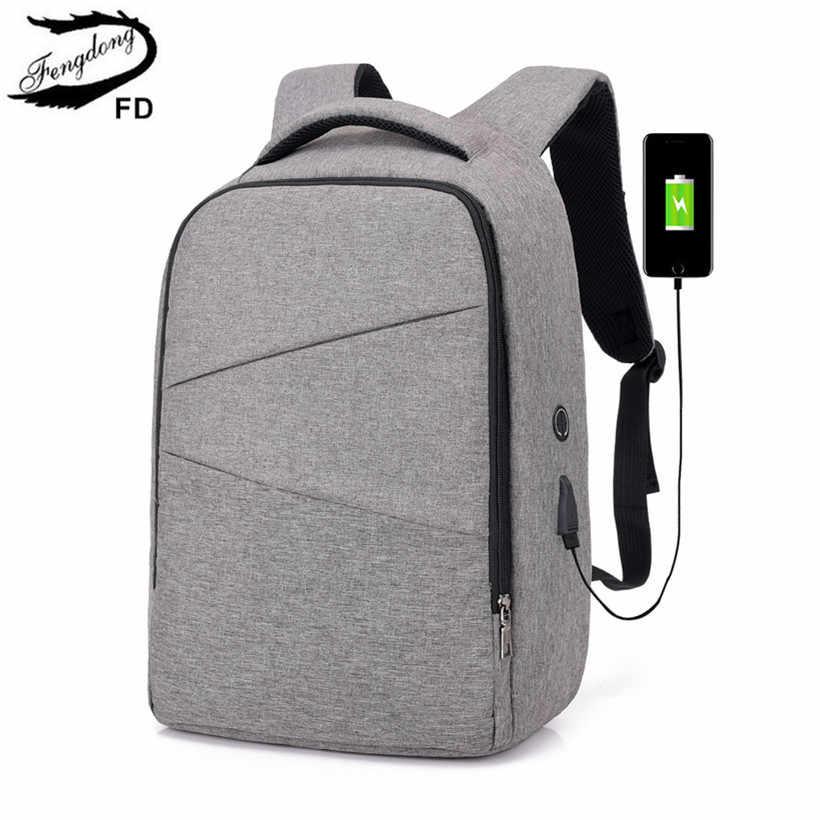 be26fe23950e FengDong/школьные сумки для мальчиков, непромокаемый Школьный рюкзак, usb  сумка, рюкзак,