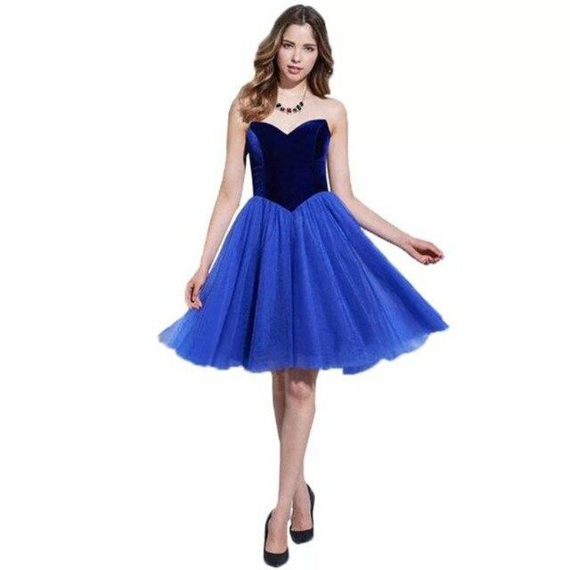 2017 New Arrival Sweetheart Royal Blue Off the Shoulder Cocktail Dress Elegant A Line Knee Length Formal Cocktail for Women