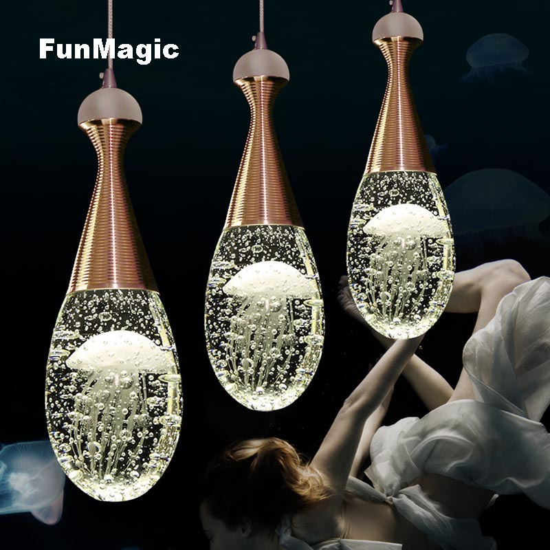 Modern Jellyfish Perfume Bottle Bubble Crystal Pendant Light Restaurant LED Lighting Dining Room Hanging Lamp Fixtures Droplight