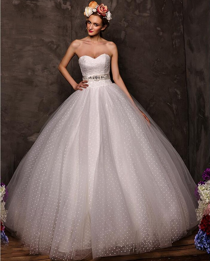 Long Ball Gown Wedding Dresses 2018 Lace Up Tulle New