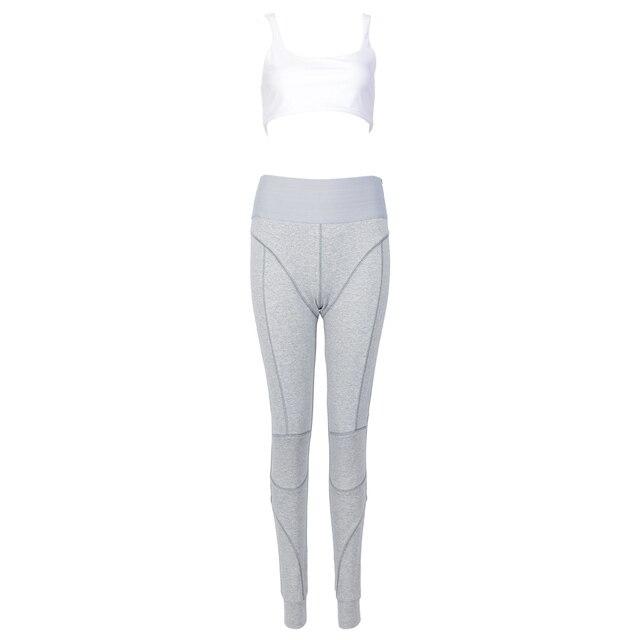 Kylie jenner Cotton Sports Two Pieces Gymwear Designer New Fashion Spaghetti Straps Elastic Waist Crop Top Legging Pants Set 3