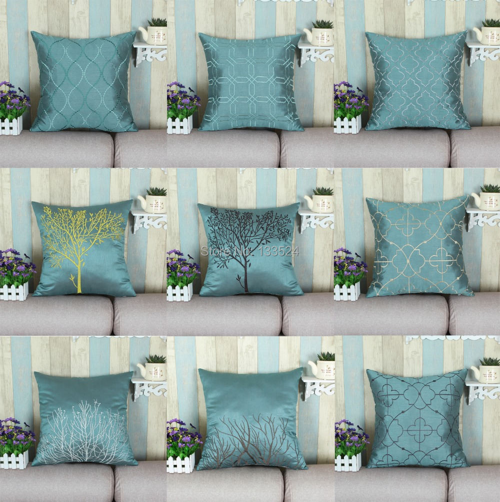 Buy Faux Silk Decorative Pillows Shell Cushion Covers Home Sofa Decoration  Bedding Set Teal Various Embroidery Designs X From