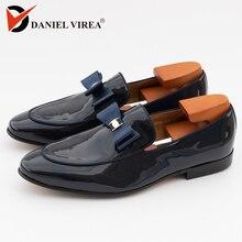 Hommes chaussures de mariage décontractées bout pointu Slip On mode solide bleu noir en cuir verni fleur Banquet bal hommes robe mocassins