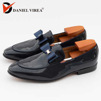 Men Casual Wedding Shoes Pointed Toe Slip-On Fashion Formal Solid Blue Patent Leather Floral Banquet Prom Men's Dress Loafers - DISCOUNT ITEM  55% OFF All Category