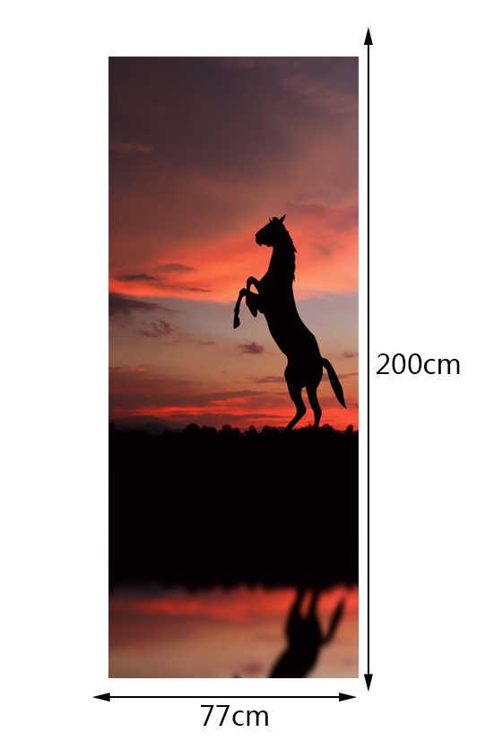 شحن مجاني الغروب الحصان الباب ملصق لغرفة النوم غرفة المعيشة هدية الفن pvc ماء صائق الباب التفاف 77*200 سنتيمتر