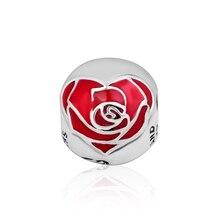 Fits Pandora Bracelet Real 925 Sterling Silver Bead Rose Charm Red Enamel Beads for Jewelry Making Women Gift Kralen Wholesale цена