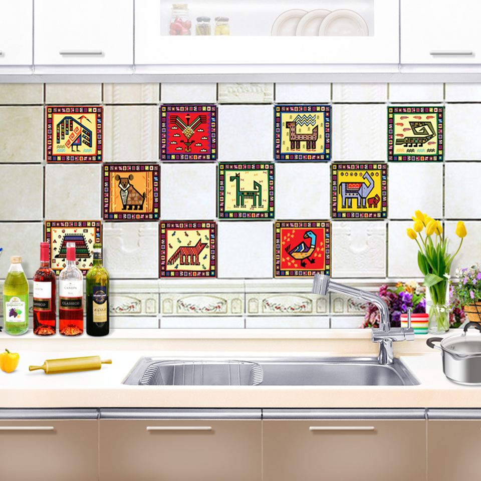 - 10pcs/set Kitchen Backsplash Self Adhesive Tile Stickers Cartoon