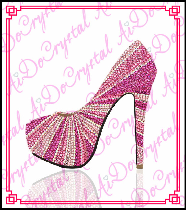 Aidocrystal 2015 sexy platform high heels font b shoes b font fashion pink high heel rhinestone