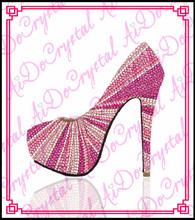Aidocrystal 2015 sexy platform high heels shoes fashion pink high heel rhinestone crystal shoes
