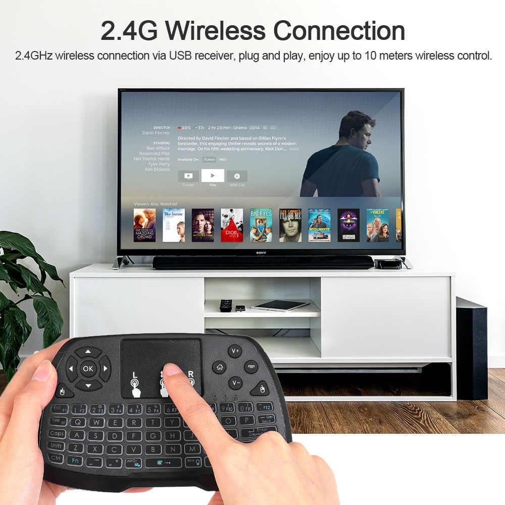 С подсветкой 2,4 ГГц Беспроводная сенсорная клавиатура Мышь пульт дистанционного Управление 4 цвета Подсветка для Android ТВ BOX Smart ТВ ПК ноутбук