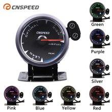 """CNSPEED 2,"""" 60 мм Универсальный Автомобильный прибор для измерения соотношения воздушного топлива, измеритель черного цвета для 12 В бензинового автомобиля, 7 цветов светодиодный стручок с держателем"""