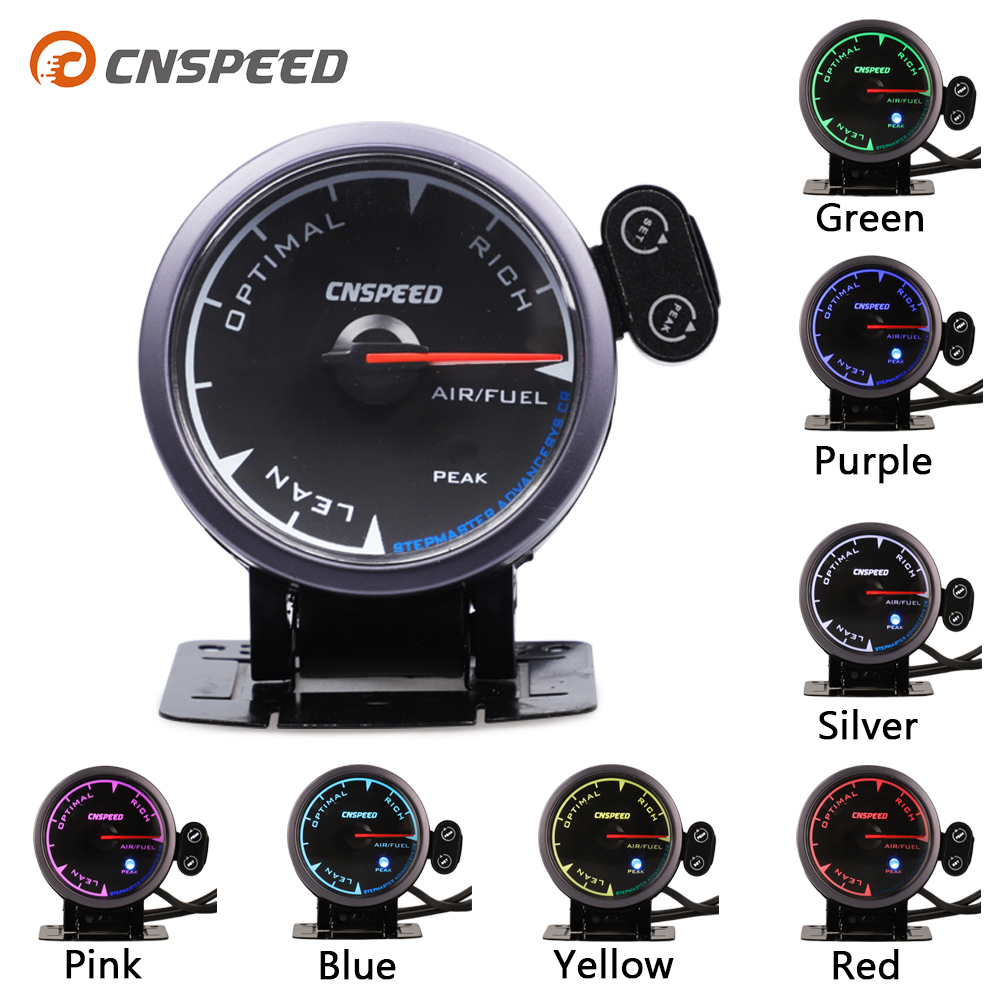 CNSPEED 2.5 60mm Universal Auto Air Fuel Ratio Car AFR Gauge Meter Black Face For 12V Gasoline Car 7 Colors LED POD With Holder