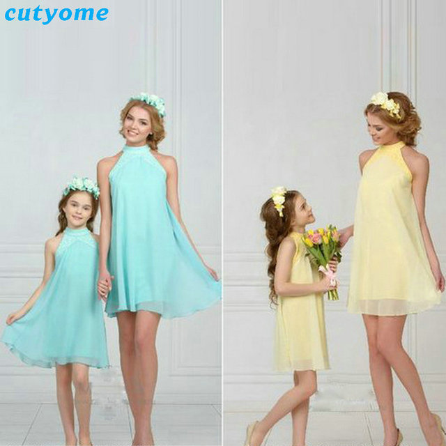 c6713caaedfd Mother Daughter Chiffon Dress Sleevless Matching Mother And Daughter Beach  Summer Dresses Family Look Outfits Mommy Me Clothes