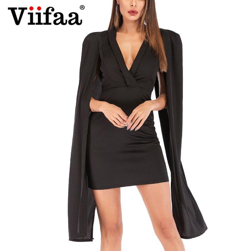 f3eb8f24994 Viifaa Современные леди черный глубоким v-образным вырезом пикантные вечерние  платье разрез с длинным рукавом