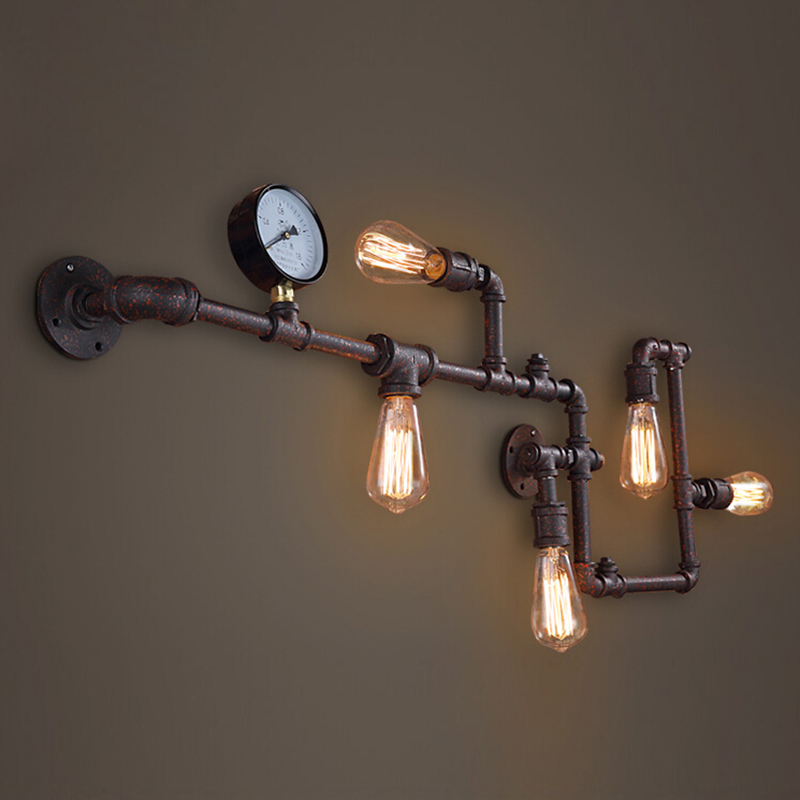 Steam punk Loft Industrial iron rust Water pipe retro wall lamp sconce wall lights E27 AC