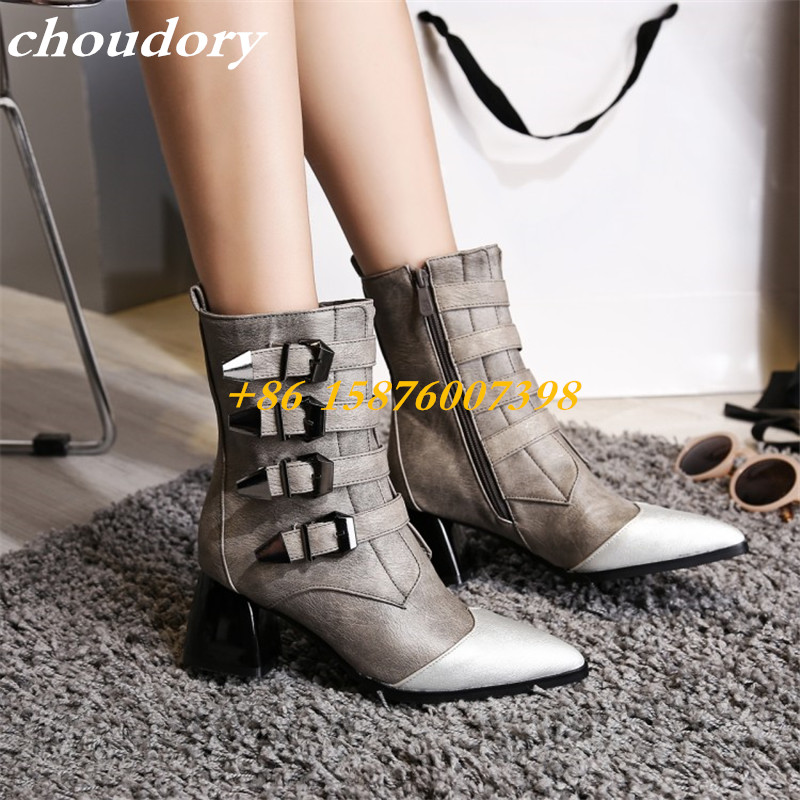 ФОТО Choudory Ankle Boots Women Shoes Pointed Toe Metal Buckle Decoration leather Belt High Heels Botas Mujers Zapatos Pumps Boots