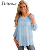 Feiterawn 2018 Fashion Plus Size Women Clothing Long Sleeve Lace Tops Casual Chiffon Blouse Autumn Winter