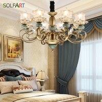SOLFART Chandeliers Lighting Bronze Iron Lustre Metal with Jade handmade glass chandeliers lighting TJ6657