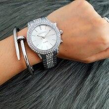 Contena reloj de oro rosa de plata de oro famosa marca nuevo diseño de las señoras vestido de las mujeres relojes de pulsera rhinestone lleno de diamantes