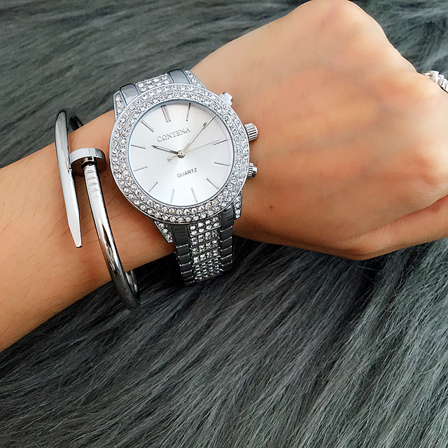 Contena Watch Golden Silver Rose Gold Famous Brand New Design Ladies Wristwatches Rhinestone Full Diamonds Women Dress Relojes
