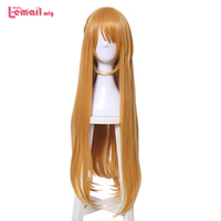 L email wig Sword Art Online Alicization Asuna Yuuki Cosplay Wigs 80cm 31.49inches Orange Synthetic Hair Perucas Cosplay Wig