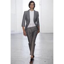 Jacket Pants Light Gray Women Business Suits Slim Fit Office Uniform Styles Ladies Elegant Pant Suits Female Trouser Suit Custom