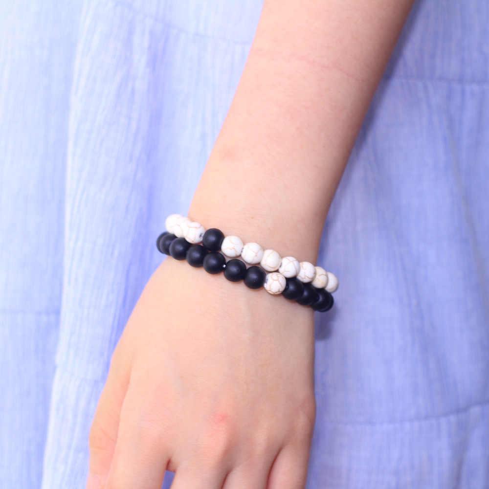 2018 טבעי אבן שחור מט לבן אורן בעבודת יד 8mm אבן חרוזים צמיד גברים נשים תכשיטים זוג צמידים אלסטיים
