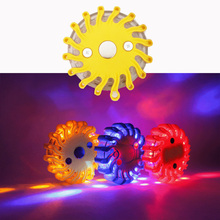 16LED Round Emergency Strobe Flashing Warning Lights 12V Car magnetic force Road Safety Light auto magnetic led flashing light car led light side door collision warning magnetic flashing strobe lights signal lamps cars bulbs lamp auto accessories 4pcs