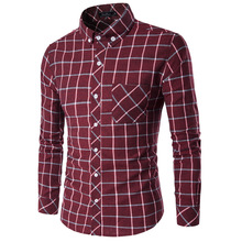 Men's Plaid Oxford Large Size Long Sleeve Casual Shirt Slim Fit Bussiness Menswear Form-fitting Cardigan Camisa Social Masculina