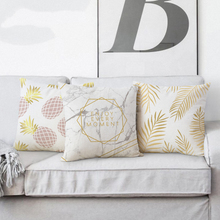 Marble Gold Leaves Leaf Pineapple Pillow Cover Geometric Circle Linen Pillow Cushion Cover Home Decorative Sofa Throw Pillows цены