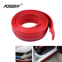 2.5M Red Car Front Rear Bumper Rubber Protector Lip Spoiler Body Kit Side Skirt Adhesive Strip Universal Car Door Guard