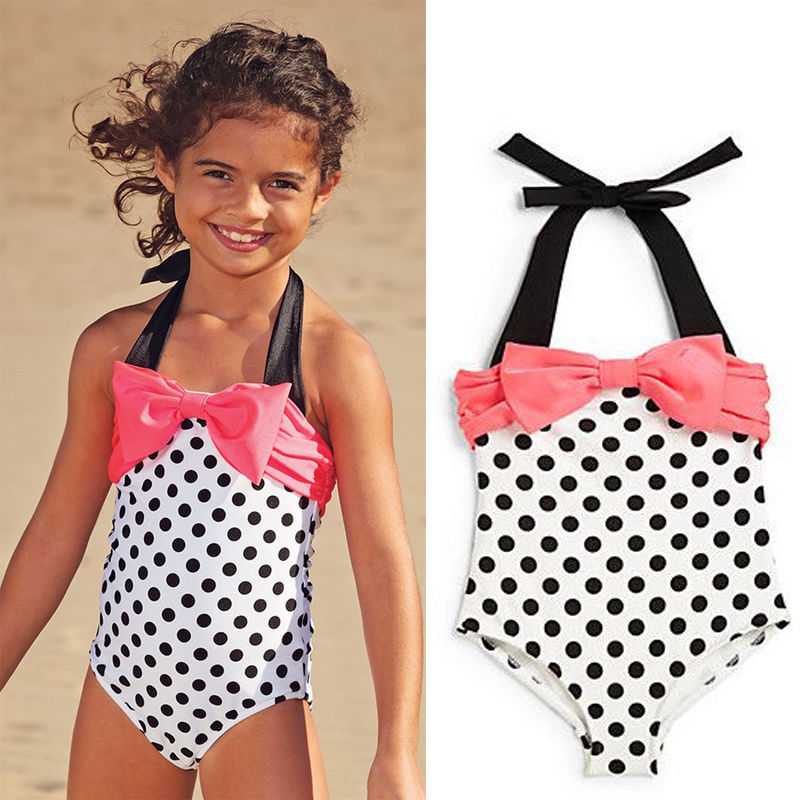 e21a74aa5b00f US Baby Girl One Piece Polka Dots Swimsuit Bikini Tankini Bowknot Bathing  Suit swimwear swimming suit for Girl monokini Biquini