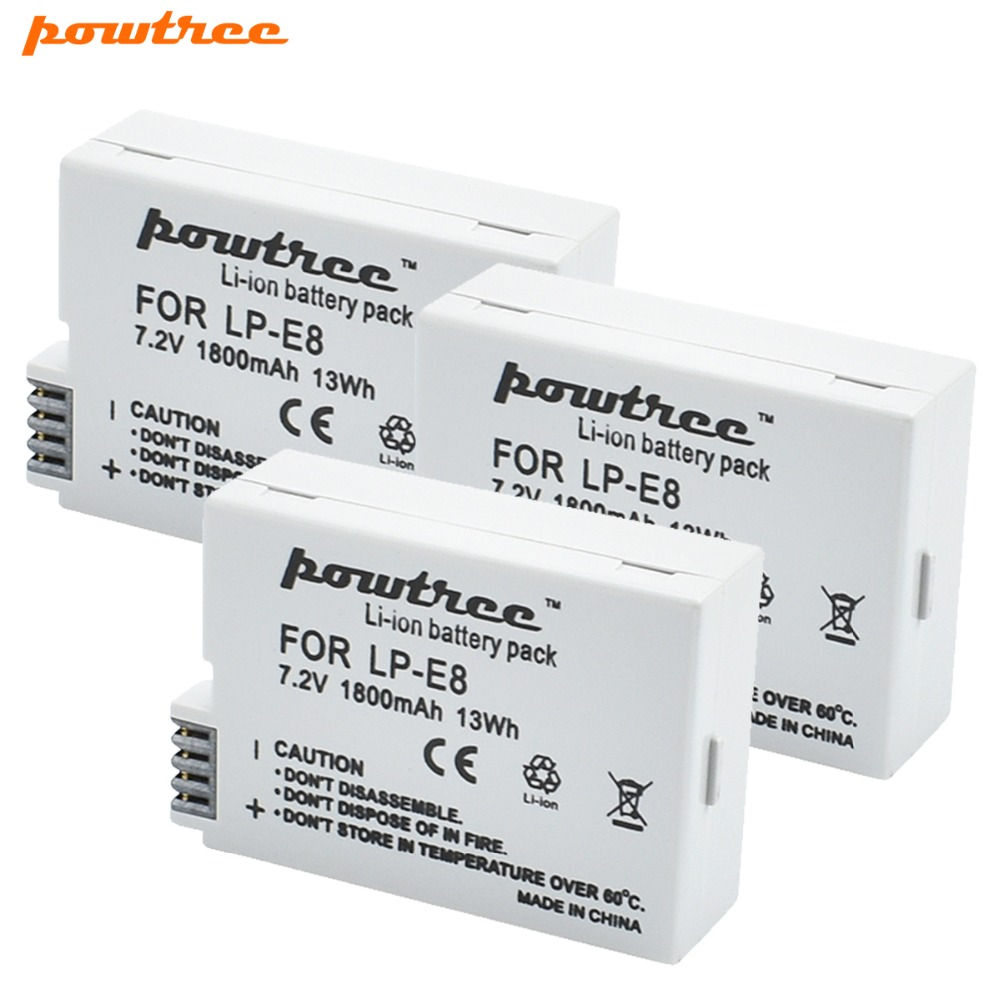 3X LP-E8 LP E8 LPE8 Camera <font><b>Battery</b></font> Pack For <font><b>Canon</b></font> EOS <font><b>550D</b></font> 600D 650D 700D Kiss X4 X5 X6i X7i Rebel T2i T3i T4i T5i <font><b>Batteries</b></font> L15 image