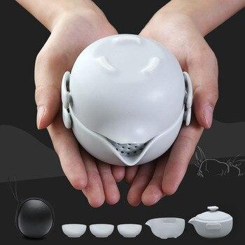 Tangpin 세라믹 주전자 가이완 2 컵 차 세트 휴대용 여행 차 세트 drinkware