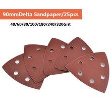 Papel de lija adhesivo triangular de 6 agujeros, lijadora Delta de 90mm, gancho de papel de arena y bucle, disco de lija, herramientas abrasivas para pulir