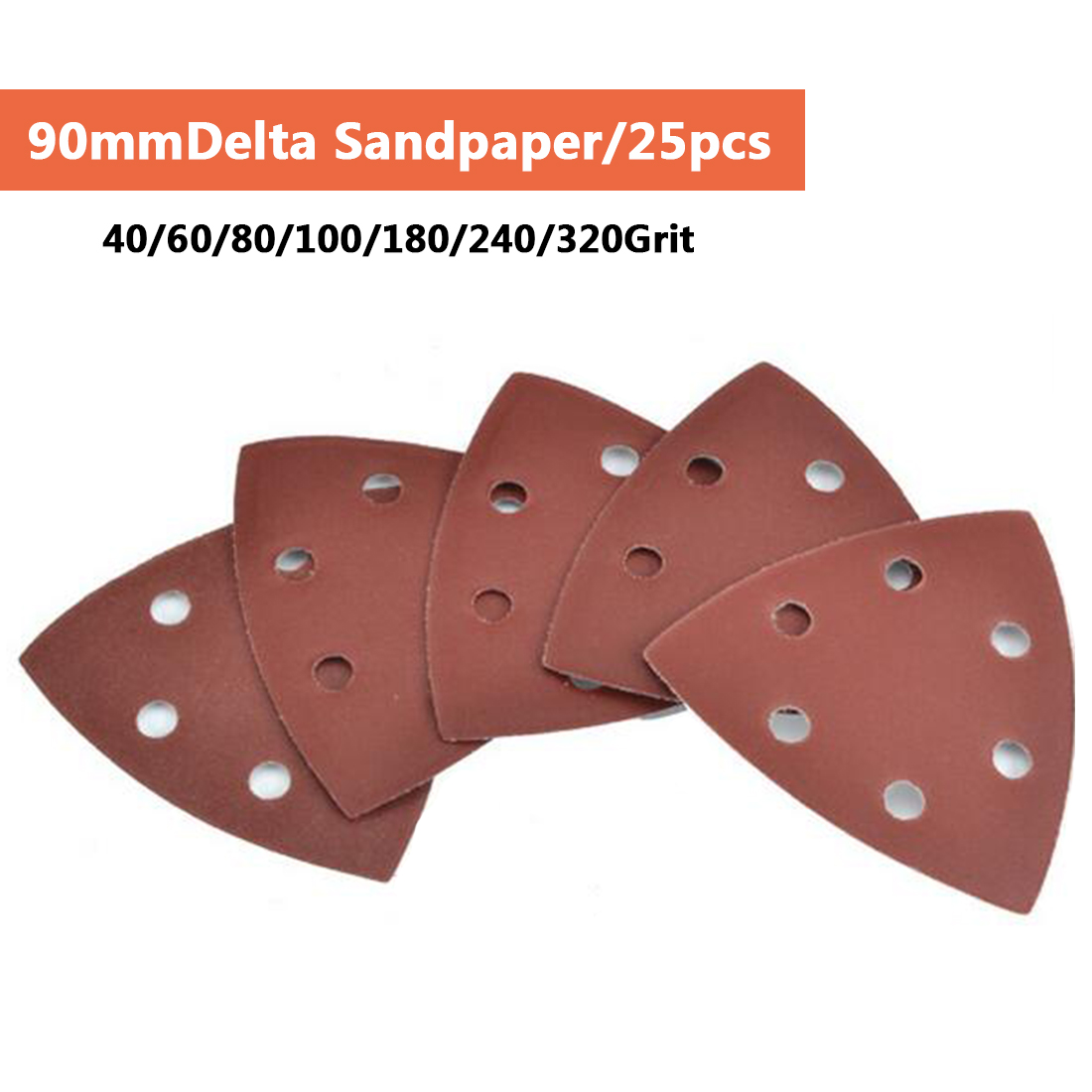 Triangle 6 Hole Self-adhesive Sandpaper 90mm Delta Sander Sand Paper Hook & Loop Sandpaper Disc Abrasive Tools For Polishing