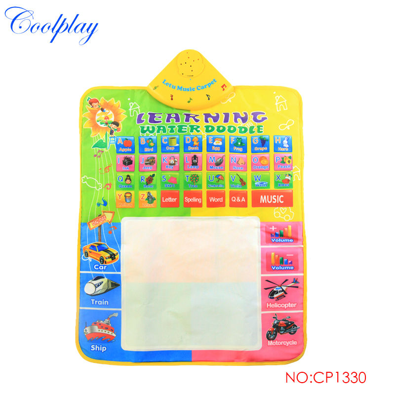 Water Drawing Board Musical Play Mat & 1pcs Magic Pen Reusable Water Coloring Mat Letters Numbers Educational Toys For Kids }