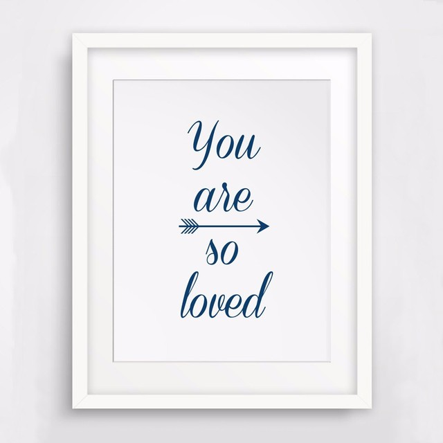 You Are Loved Navy Blue Wall Print Quotes Nursery Art Prints Canvas