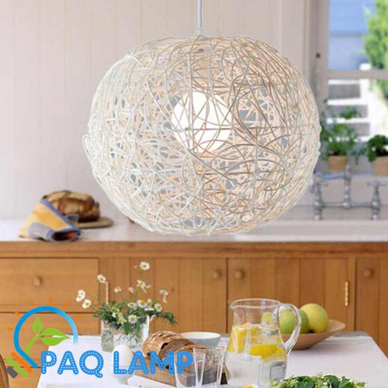 ФОТО modern lamp  pendant light vines wicker diameter 30cm ball indoor lighting LED light fixture