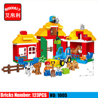 123pcs Large Blocks Happy Zoo With Animals Building Blocks Set Kids DIY Creative Duploe Big Blocks