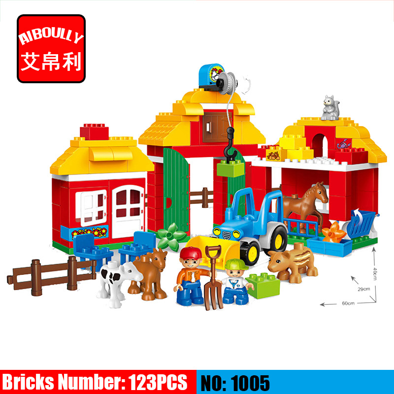 123pcs Large Blocks Happy Zoo with Animals Building Blocks Set Kids DIY Creative Duploe Big Blocks Toys kid s home toys large particles happy farm animals paradise model building blocks large size diy brick toy compatible with duplo