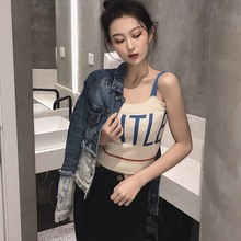 2019 Sexy Crop Tops Women Color Block Letter Print Sleeveless Pullover Knitted Camisole Casual Fitness Tight Tank