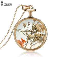 Vintage Dry Flower Necklaces Pressed Necklaces Pendants Flower Resin Jewelry Gold Elegant Romantic For Women wedding jewelry(China)