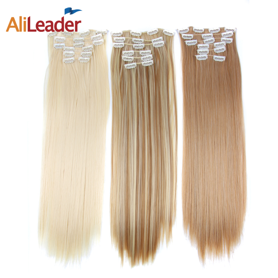 Alileader 55cm Long Straight Women Black Brown High Tempreture Synthetic Hair Piece For Women Ombre Clip In Hair Extensions