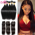 Unprocessed 100% Peruvian Straight Virgin Hair Extentions With Closure Straight Hair With Closure Virgin Human Hair With Closure