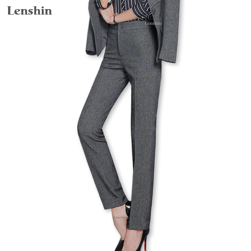 Lenshin Plus Size Dark Gray Formal Pant For Women With Phone Pocket Office Lady Work Wear Straight Trousers Business Design