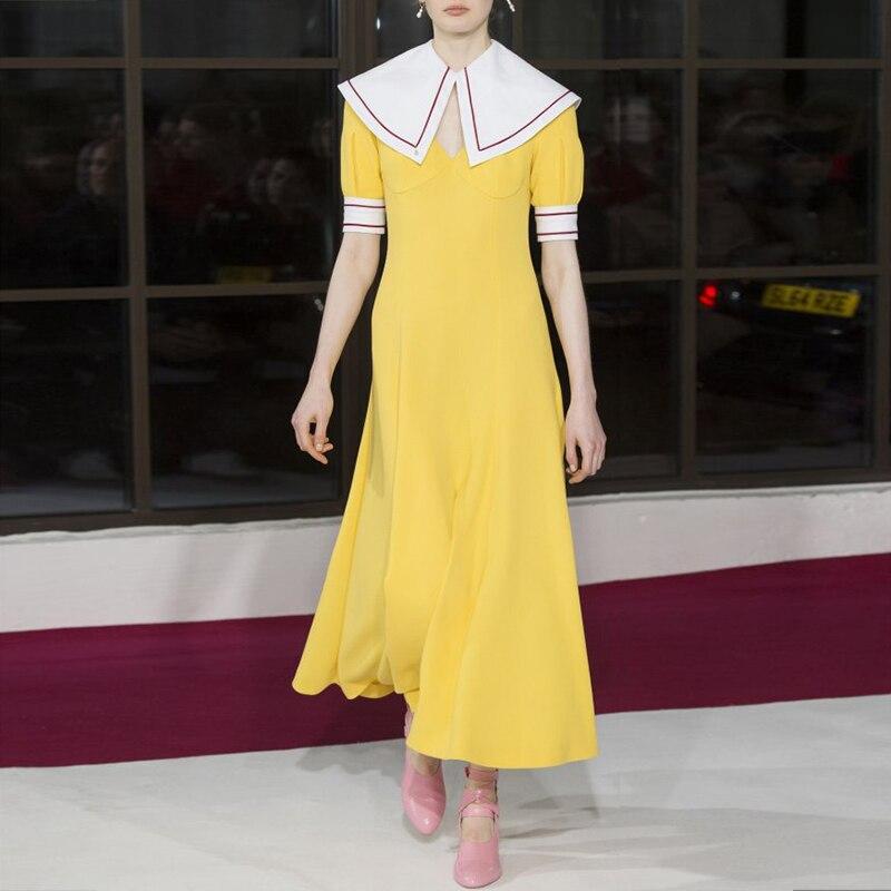 2019 New Fashion Summer European Elegant Sailor Collar Bright Yellow Dresses Short Sleeve Long Dress