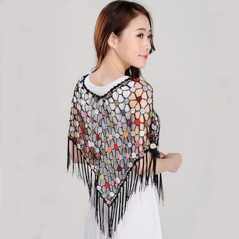Fashion Women Cover Ups Lace Crochet Flower Hollow Out Shawls Tops Wrap Poncho Pashmina Cover-ups for Dress 16 colors